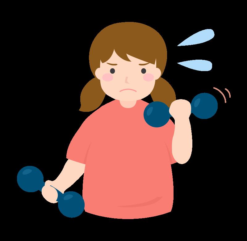 ダンベルダイエットをする女性のイラスト