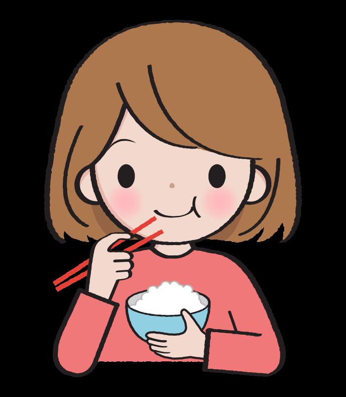 ご飯を食べている女性のイラスト
