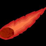 真っ赤に燃える隕石のイラスト