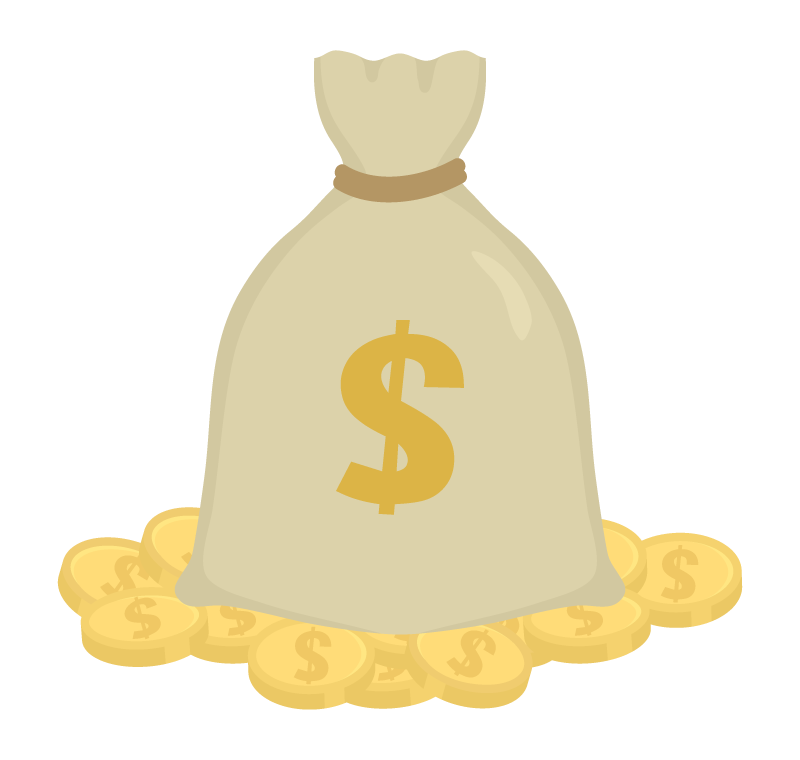 ドル袋とコインのイラスト