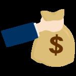 ドル袋と手のイラスト