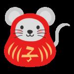 だるま格好をしたネズミのイラスト