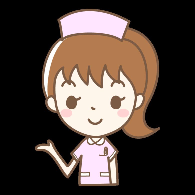 案内をする看護師さんのイラスト
