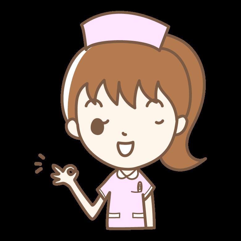 OKサインをする看護師さんのイラスト