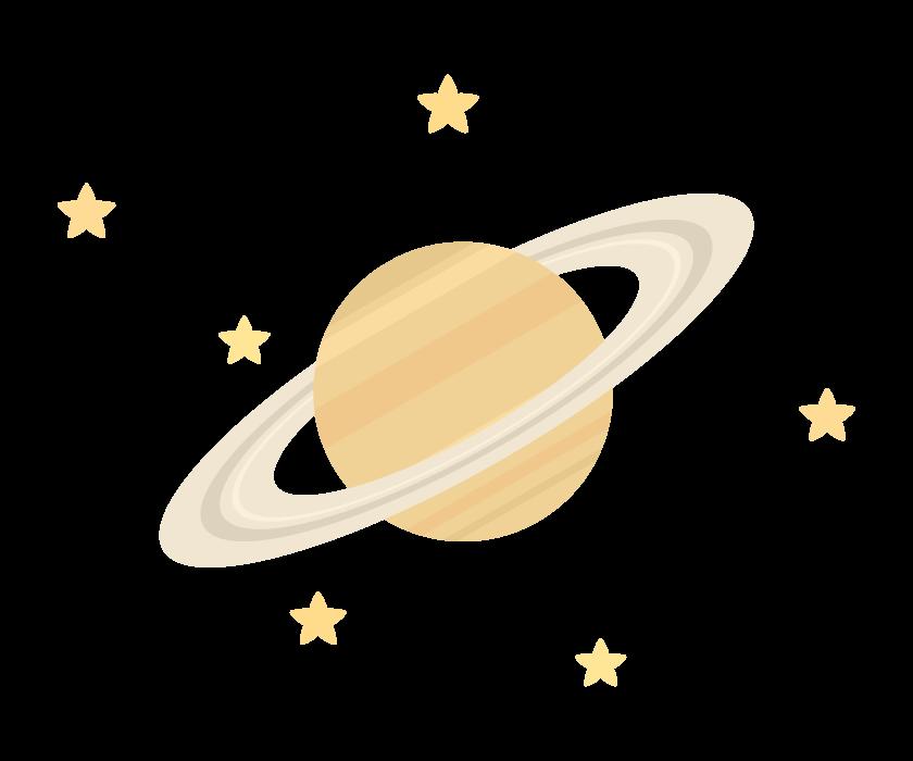 星と土星のイラスト