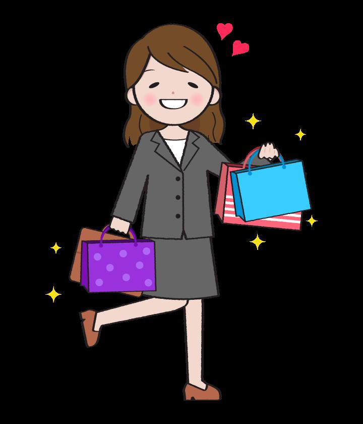 買い物をして喜んでいる女性会社員のイラスト