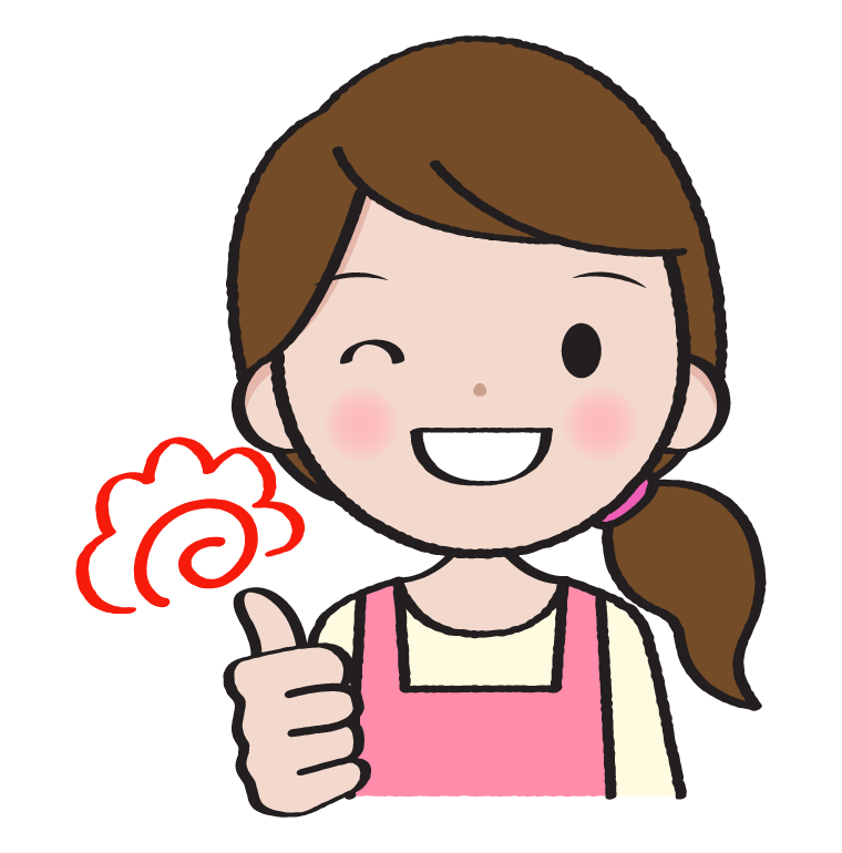 笑顔で褒める主婦のイラスト