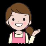 笑顔で説明する主婦のイラスト