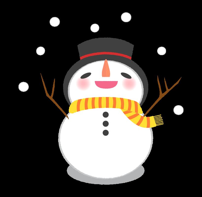 喜んでいる雪だるまのイラスト