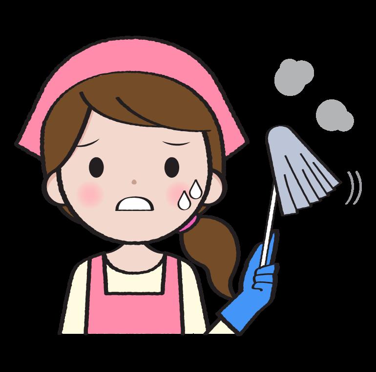 困った顔で掃除をする主婦のイラスト