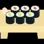 海苔巻き(かっぱ巻き・梅しそ巻き)のイラスト