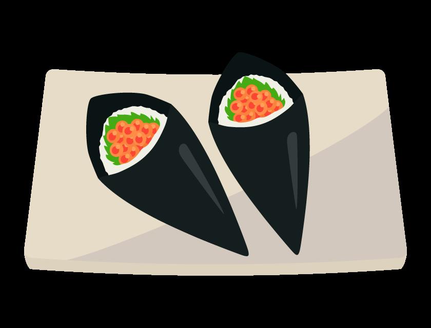 いくらの手巻き寿司のイラスト