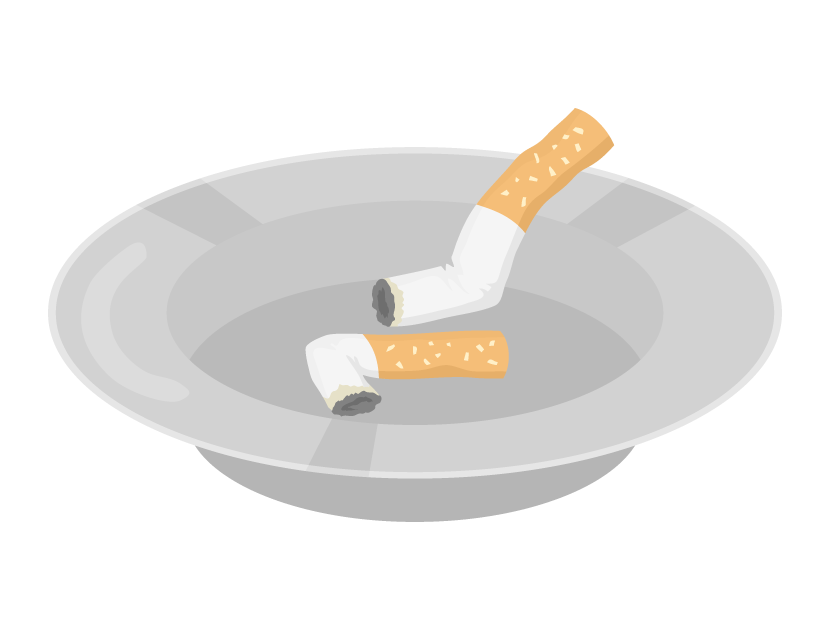 灰皿とタバコの吸い殻のイラスト