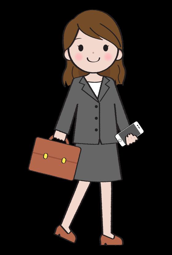 スマホを持って歩く女性会社員のイラスト