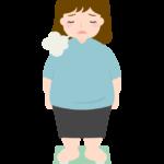 体重計に乗ってガッカリする女性のイラスト