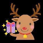 プレゼントを贈るトナカイのイラスト