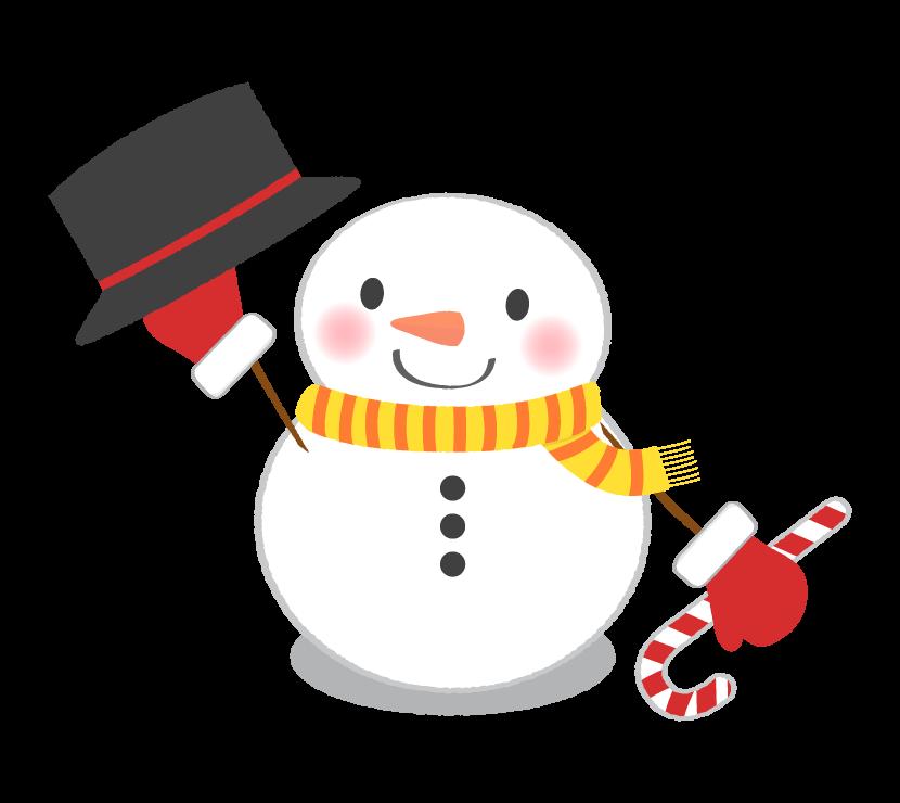 挨拶をする雪だるまのイラスト