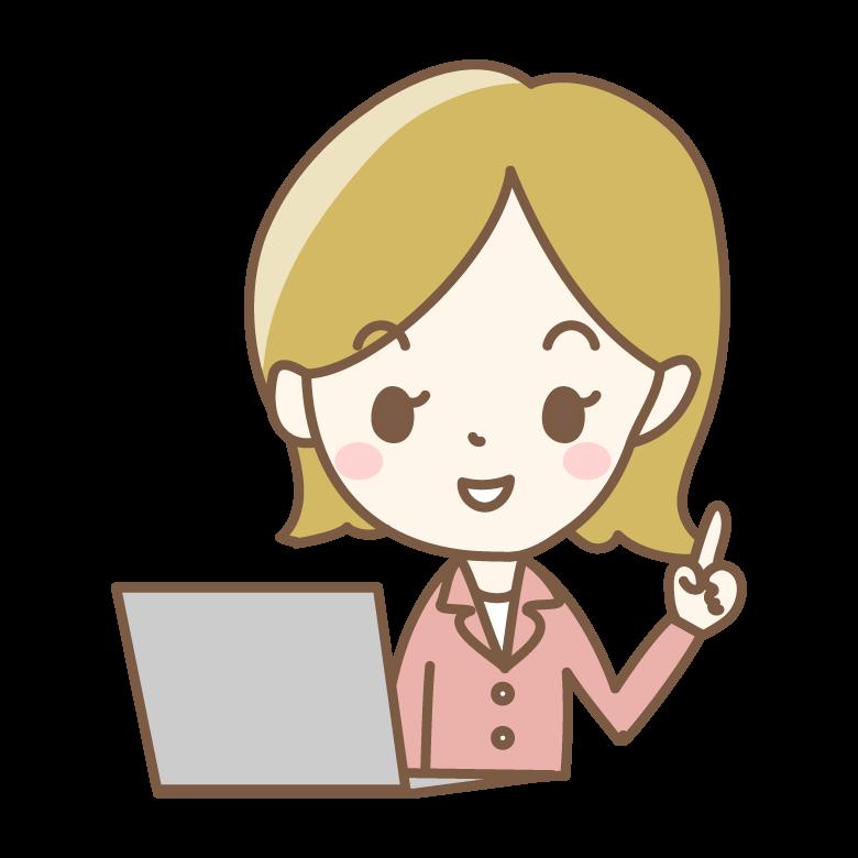 パソコンと指差し・ワンポイントアドバイスのイラスト