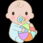ボールを持っている赤ちゃんのイラスト
