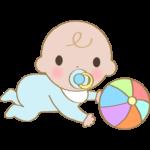 ボールで遊ぶ赤ちゃんのイラスト