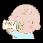 ミルクを飲む赤ちゃんのイラスト