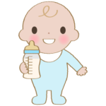 ミルクを持っている赤ちゃんのイラスト