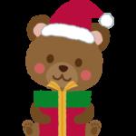 プレゼントを持っているクマのイラスト