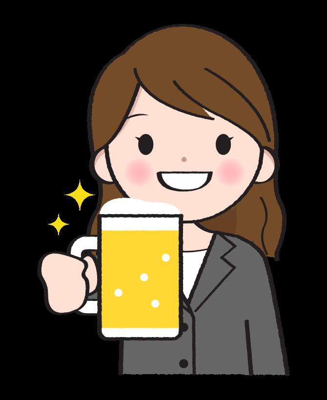 ビールを飲む女性会社員のイラスト
