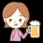 ジョッキビールを持っている女性のイラスト