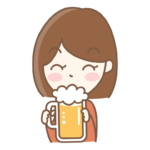 ビールを飲む女性のイラスト