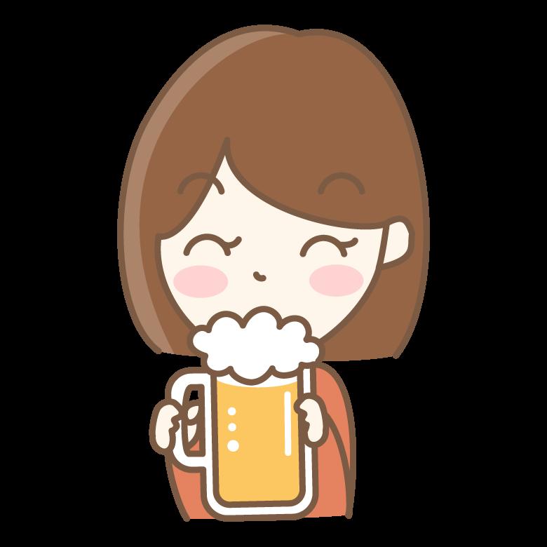 ビールを飲む女性のイラスト