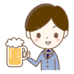 ジョッキビールを持っているサラリーマンのイラスト