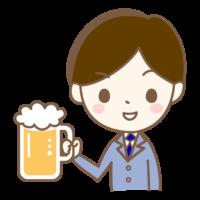 ジョッキビールを持っているサラリーマンのイラスト