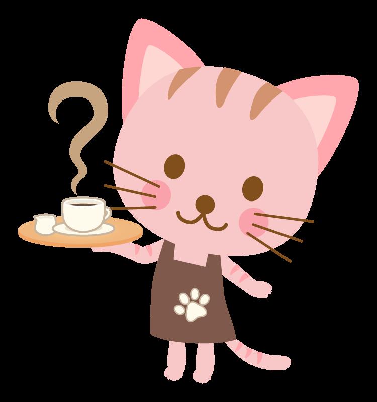 かわいい猫のウエイトレスのイラスト