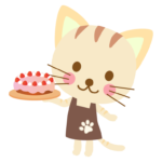 かわいい猫のケーキ屋さんのイラスト