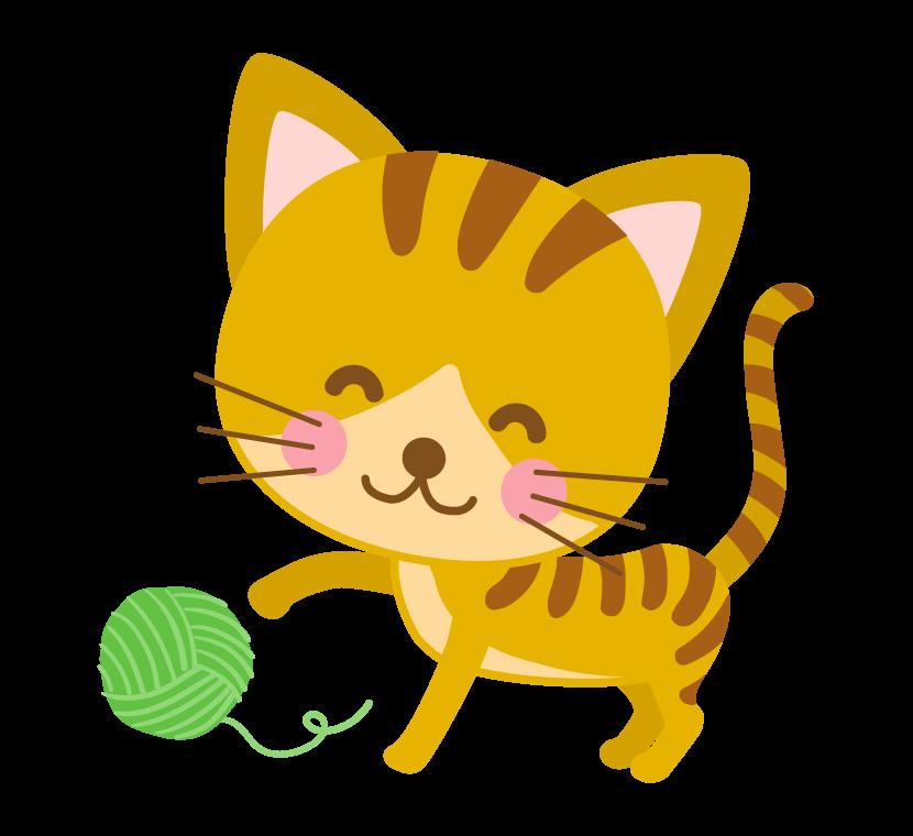 毛糸のまりで遊ぶ茶トラ猫(トラネコ)のイラスト
