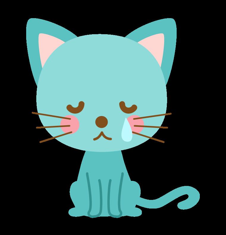 悲しんでいる猫のイラスト