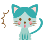 ビックリして驚いている猫のイラスト