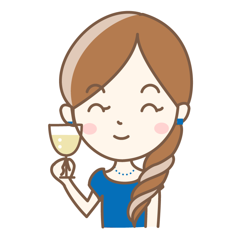 シャンパンと女性のイラスト