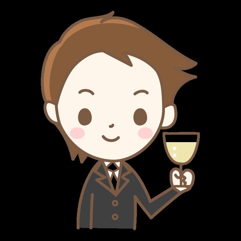 シャンパンと男性のイラスト