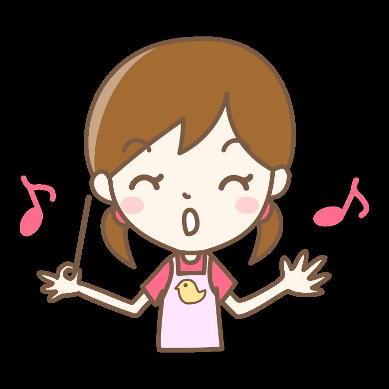 歌う保育士さんのイラストです。