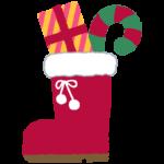 クリスマスブーツとプレゼントのイラスト