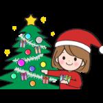 クリスマスツリーに飾り付けをする女性のイラスト