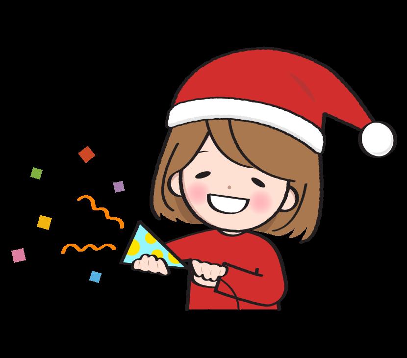 クリスマスをお祝いする女性のイラスト