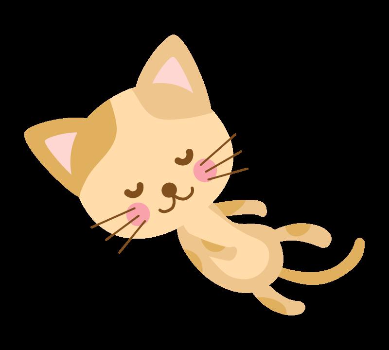 寝ている茶色い猫のイラスト