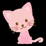 かわいいピンク色の猫のイラスト