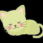 丸まって寝ている猫のイラスト