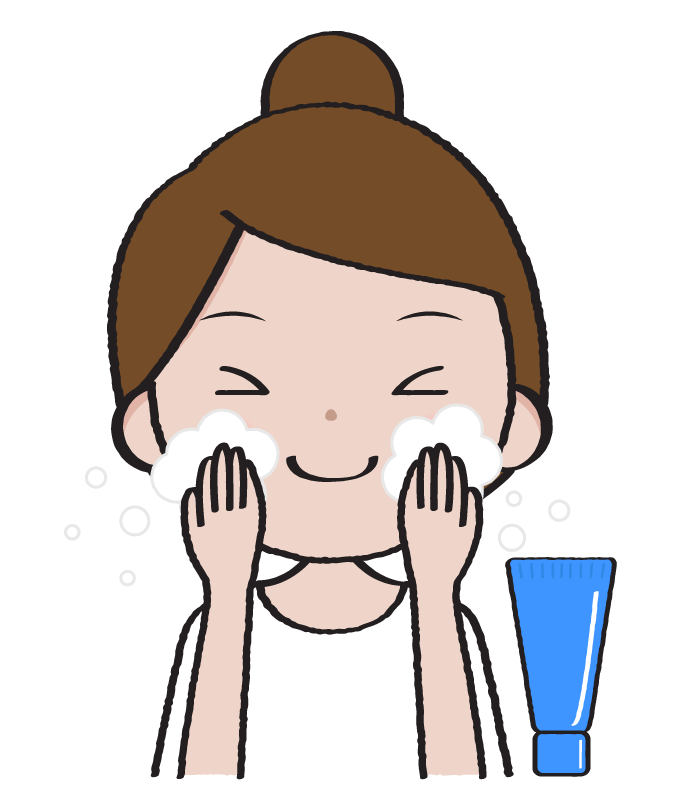 洗顔をする女性のイラスト