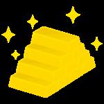 積みあがった金の延べ棒(金塊)のイラスト