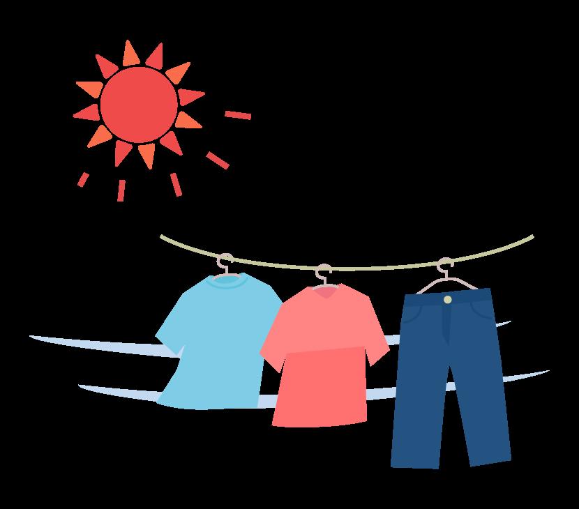晴れの日の洗濯物のイラスト